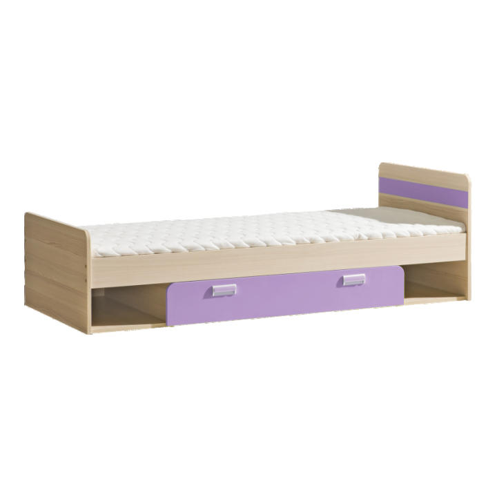 Jednolôžková posteľ 80 cm L13 (s roštom) (fialová)