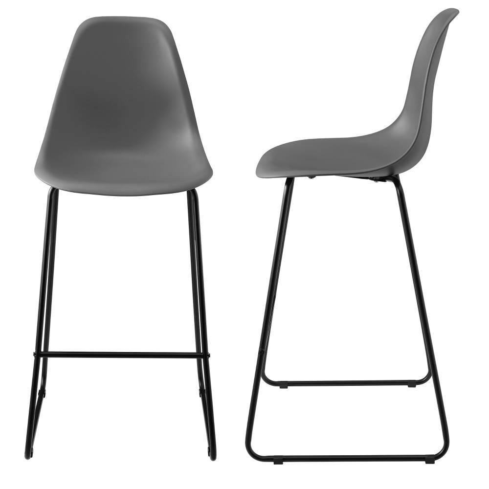 [en.casa]® Dizajnové barové stoličky (2 kusová sada) - tmavo sivé