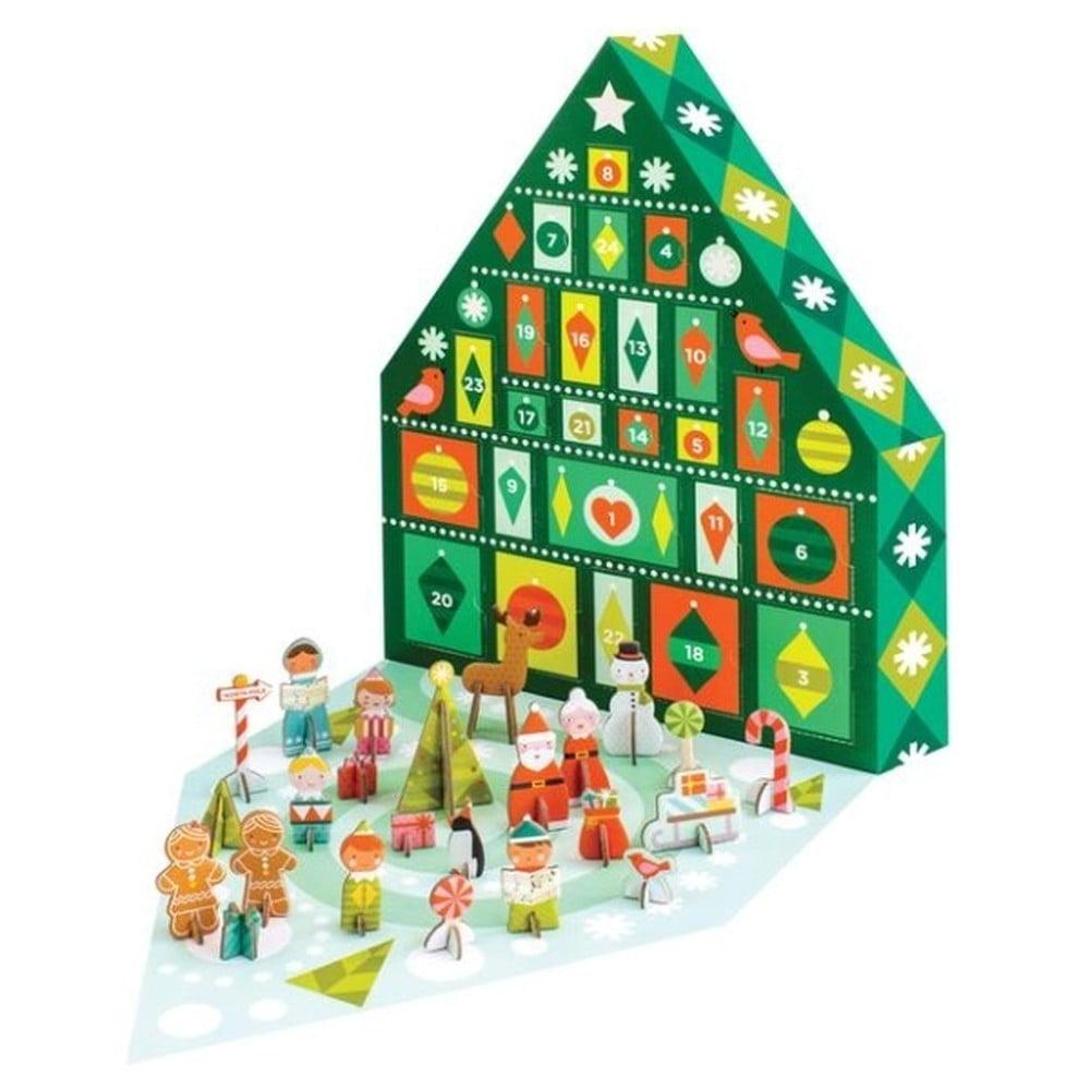 Adventný kalendár s 21 skladacími figúrkami z recyklovaného papiera a rastlinného atramentu Petit collage Tree
