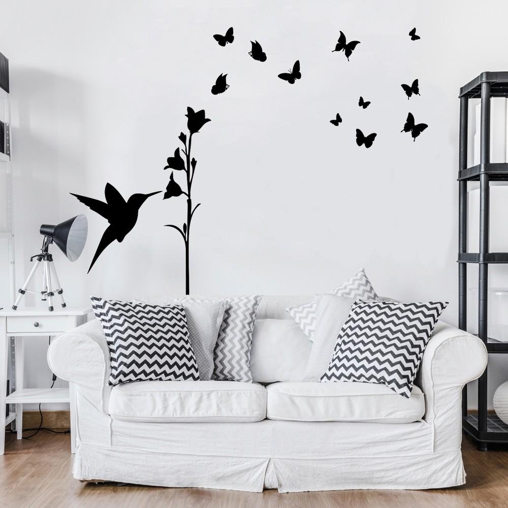 Čierna samolepka Ambiance Hummingbird