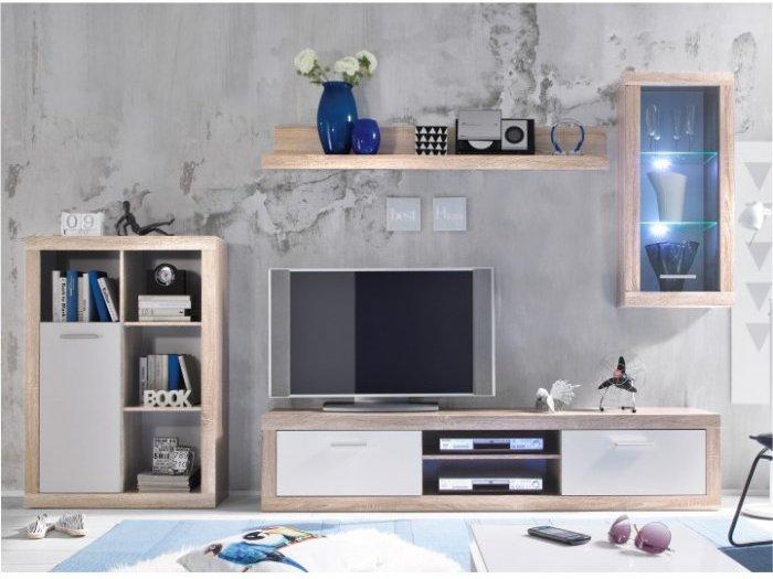 TEMPO KONDELA CARACAS obývacia stena s osvetlením - dub sonoma / biela