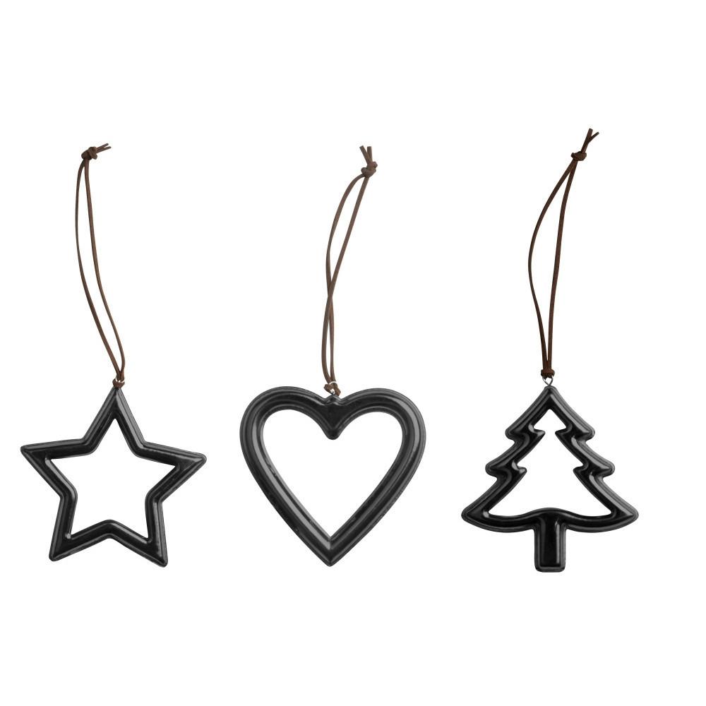 Sada 3 vianočných dekorácií KJ Collection Metal Black