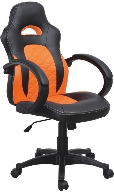 Kancelárske kreslo, ekokoža čierna/ekokoža oranžová, NELSON