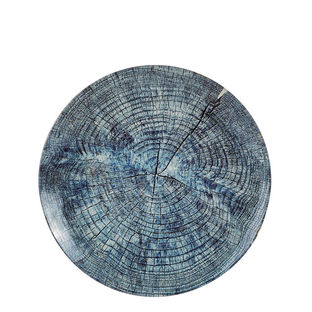 Modrý sklenený dekoračný tanier s textúrou dreva Villa Collection, ∅24,5cm