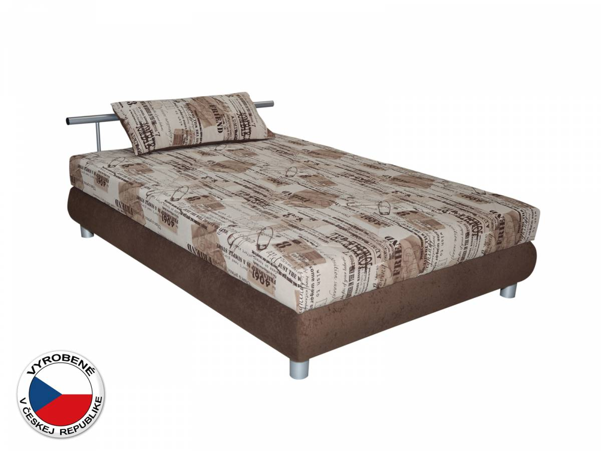 Jednolôžková posteľ 110 cm Blanár Adriana (vzor Sevila 24-40 + hnedá) (s roštom a matracom)