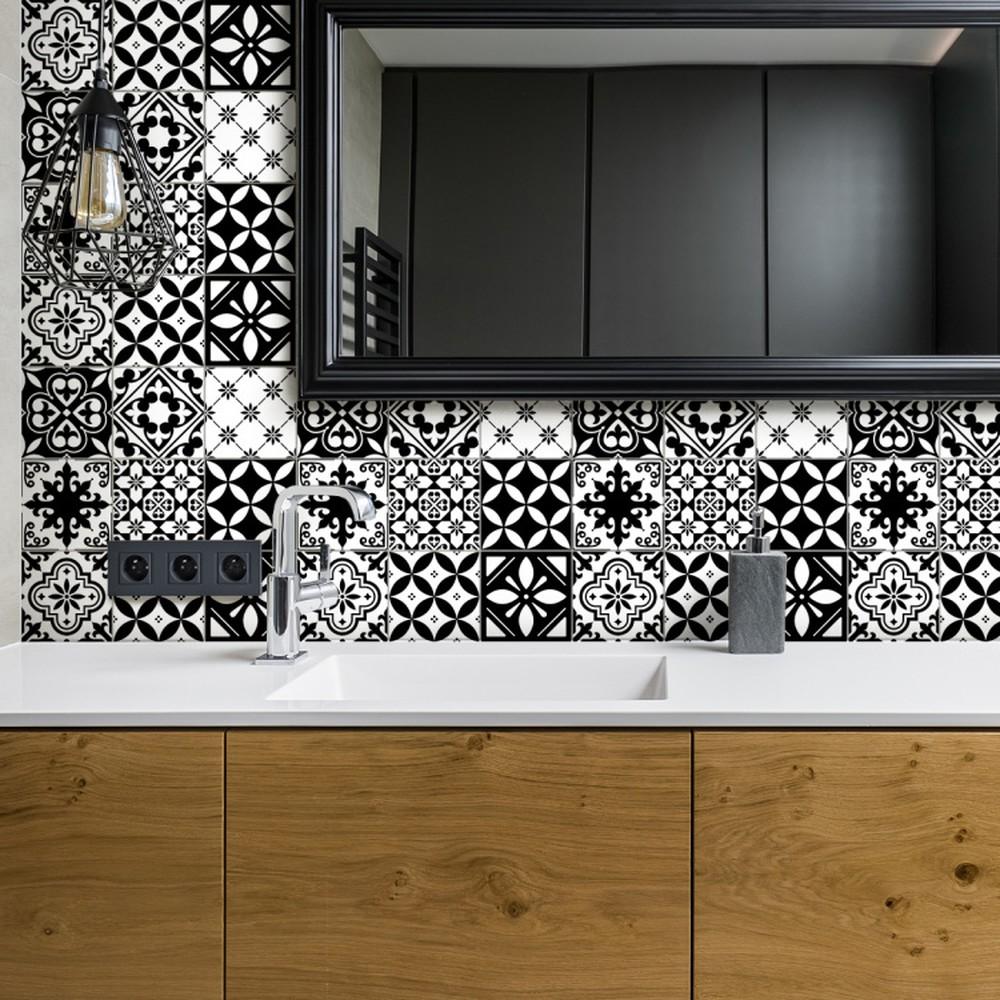 Sada 30 nástenných samolepiek Ambiance Decal Tiles Azulejos Rosario, 10 × 10 cm