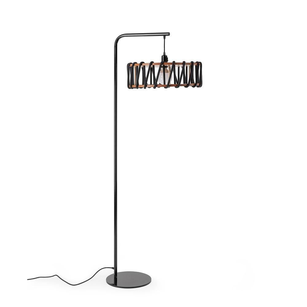 Stojacia lampa s čiernou konštrukciou a veľkým čiernym tienidlom EMKO Macaron