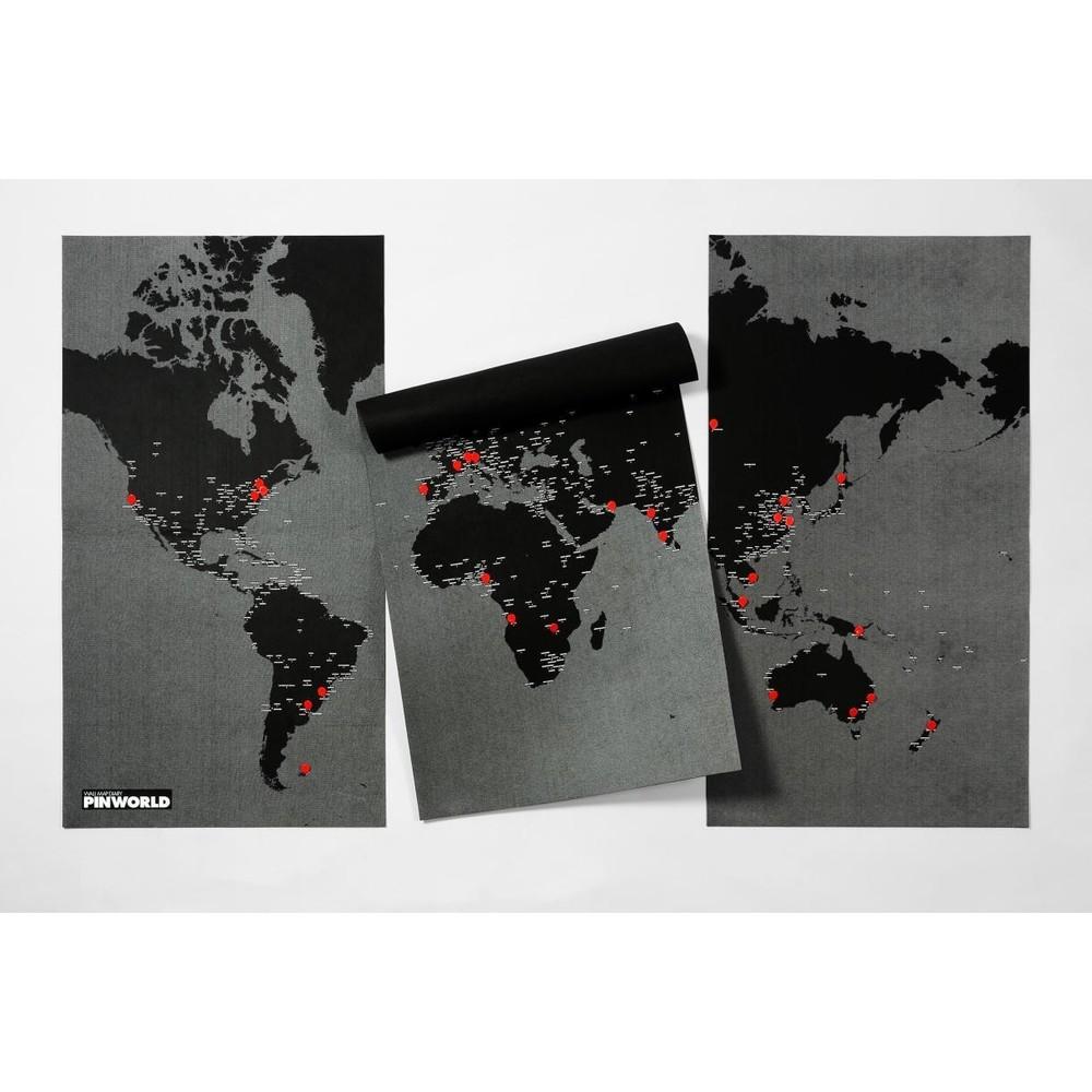 Čierna nástenná mapa sveta Palomar Pin World XL, 198 x 124cm