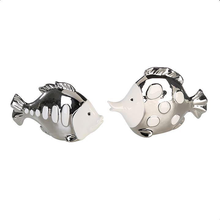 Bighome - Dekoratívna soška FINI - strieborná/biela