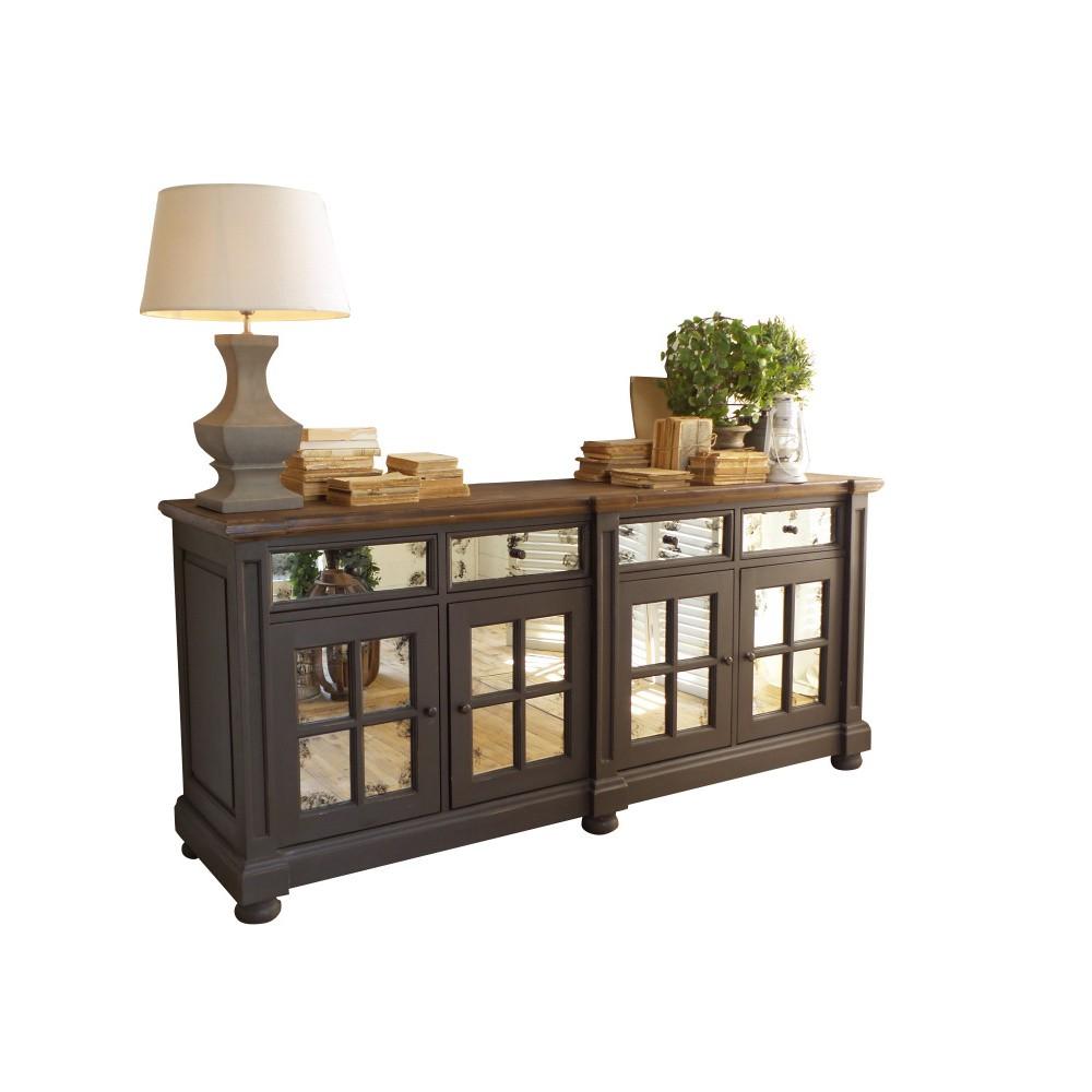 Hnedá drevená komoda s zrkadlovými dvierkami Orchidea Milano
