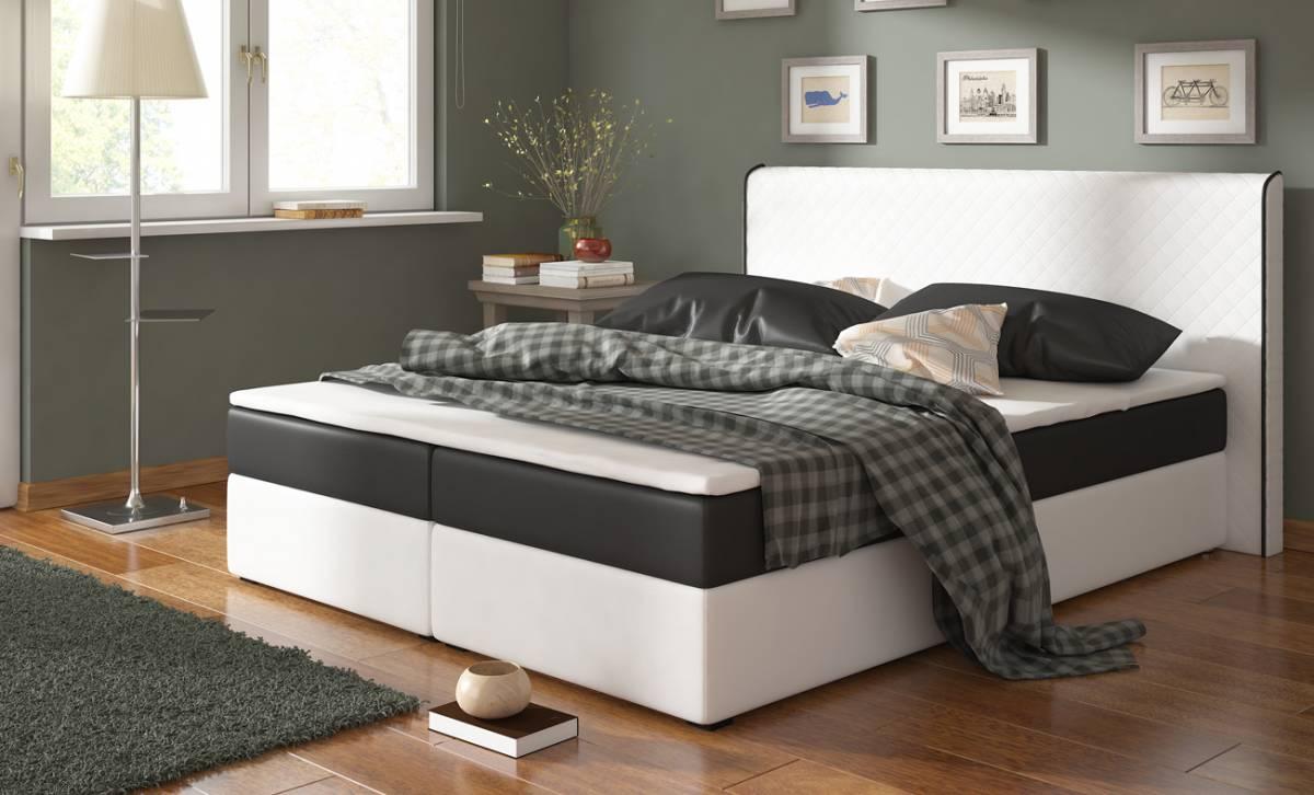 BERGANO posteľ 180 biela/čierna