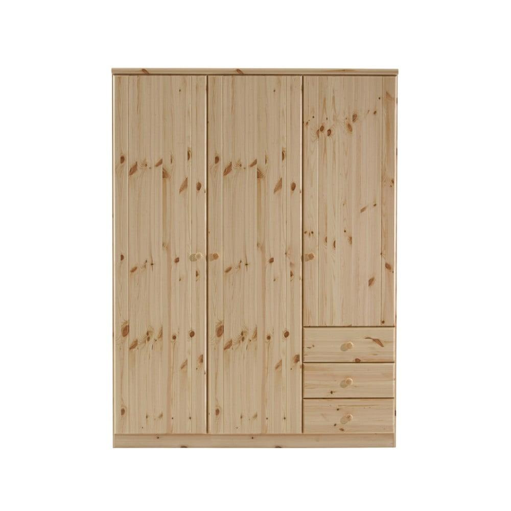 Hnedá šatníková skriňa z borovicového dreva Steens Ribe, 202 × 150,5 cm