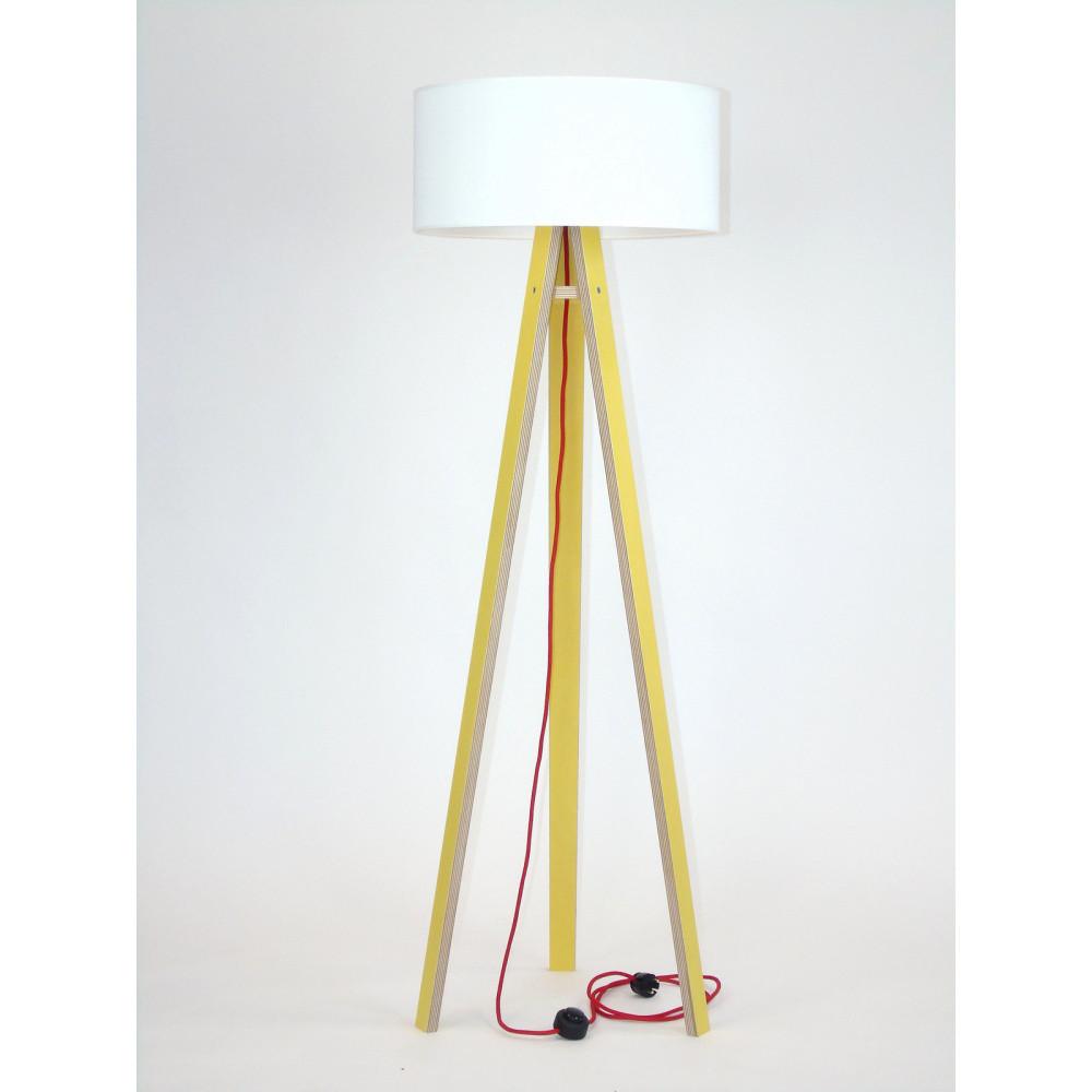 Žltá stojacia lampa s bielym tienidloma červeným káblom Ragaba Wanda