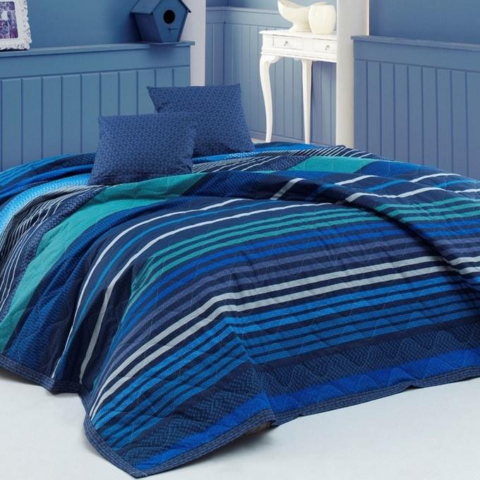 BedTex Prehoz na posteľ Marley modrá, 220 x 240 cm, 2x 40 x 40 cm