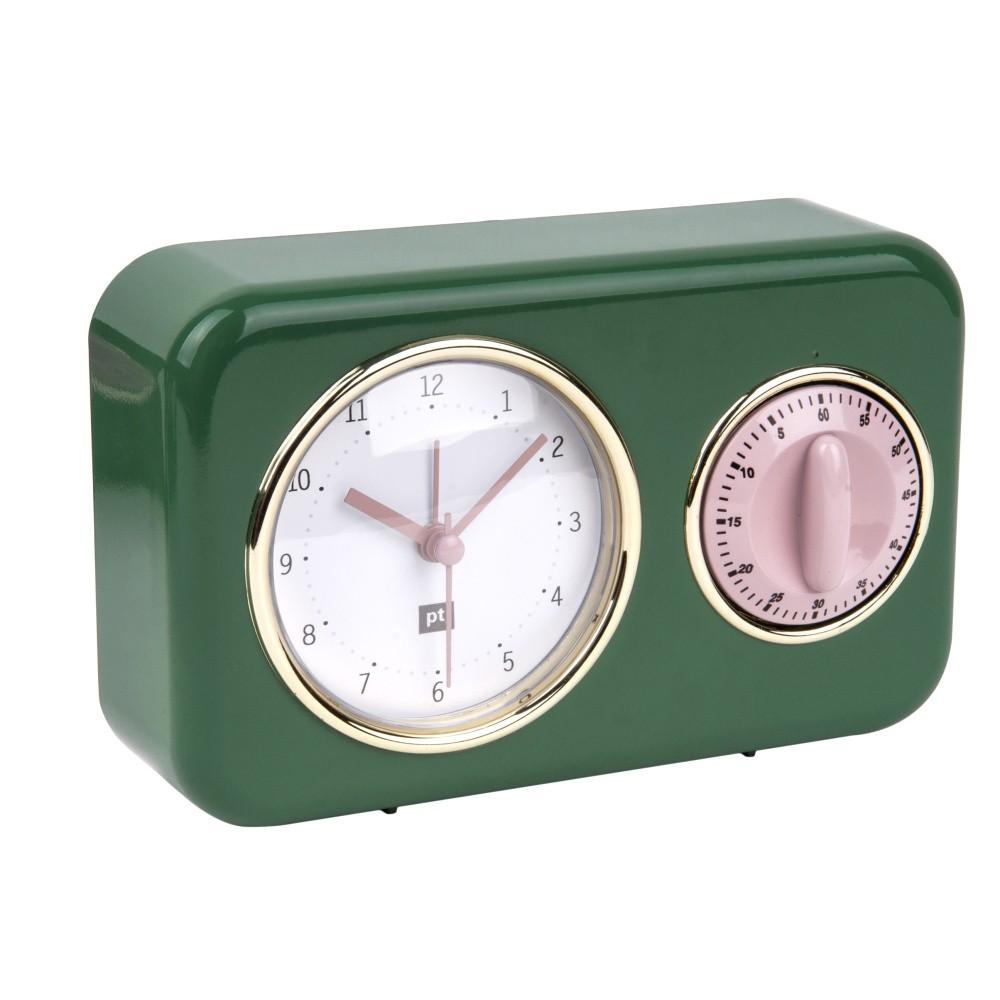 Zelené kuchynské hodiny s minutkou PT LIVING Nostalgia