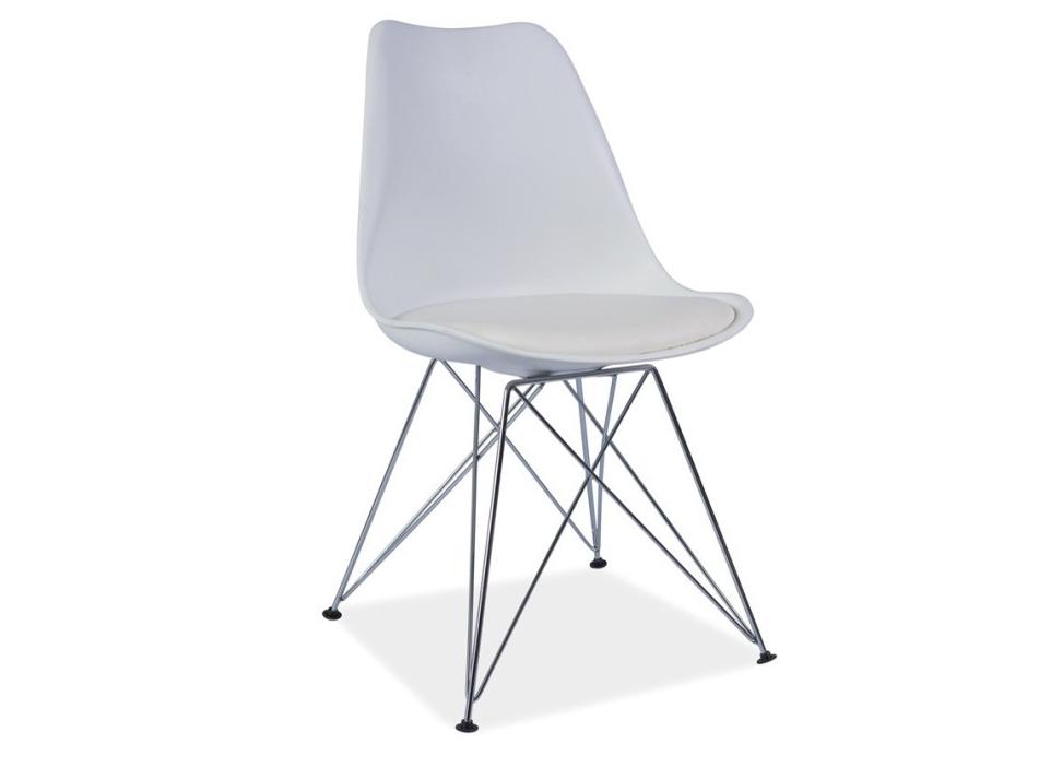 Jedálenská stolička Metal (ekokoža biela)