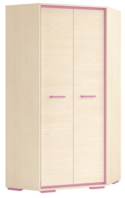 Rohová šatníková skriňa BONTI 01   Farba: Ružová