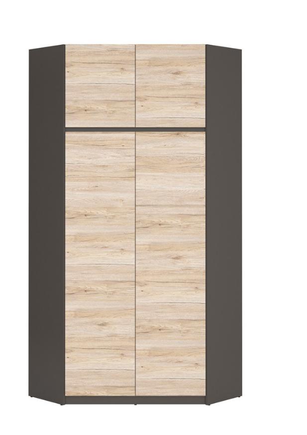 Šatníková skriňa Moden SZFN2D   Farba: šedý wolfram / dub san remo