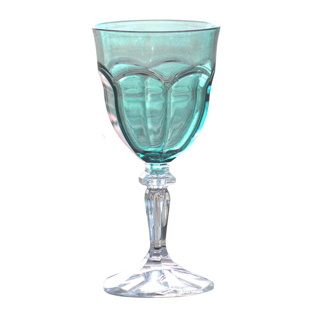 Sada 6 modrých plastových pohárov na víno Sunvibes Happy, 250 ml