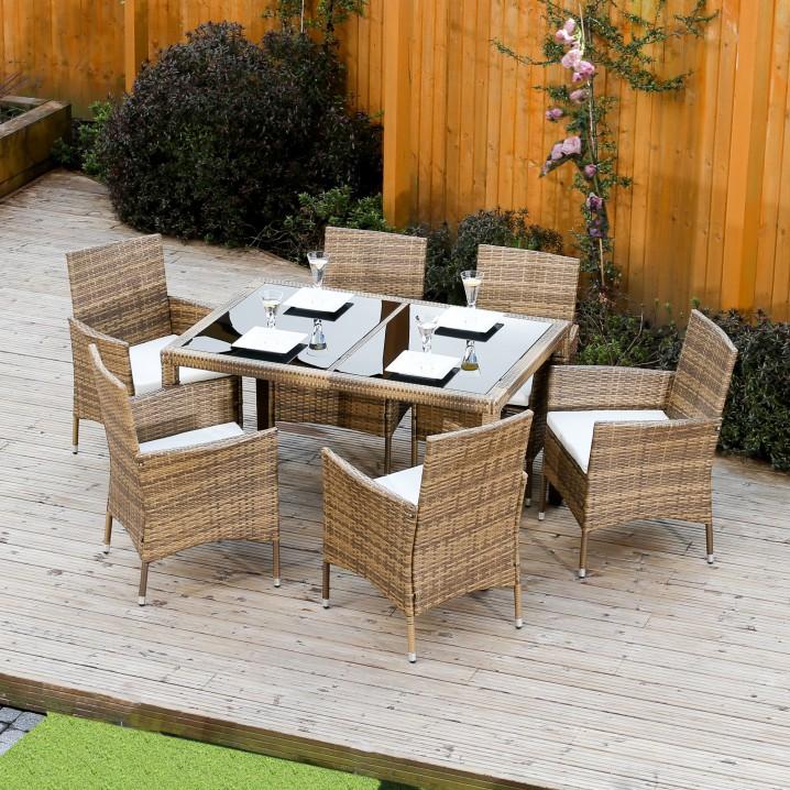 Záhradný set, jedálenský stôl+6x stolička, ratan, medová/krémová, GARDEN