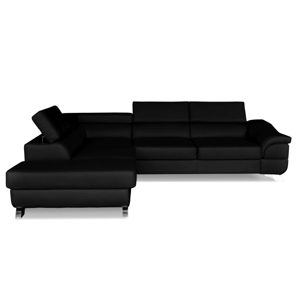Čierna kožená rohová rozkladacia pohovka Windsor & Co. Sofas Omnikron, ľavý roh