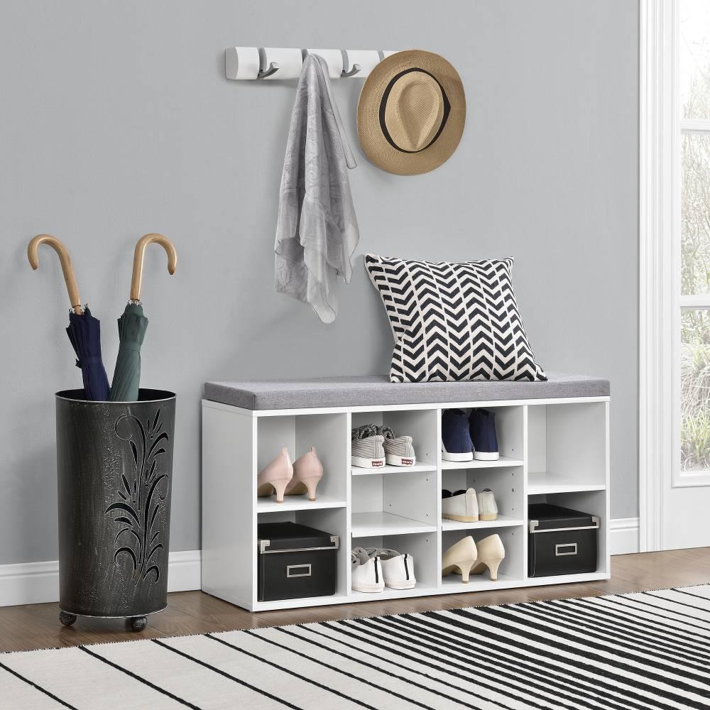 [en.casa]® Botník - lavica - 103 x 30 x 48 cm - biela / sivá - 10 poličiek