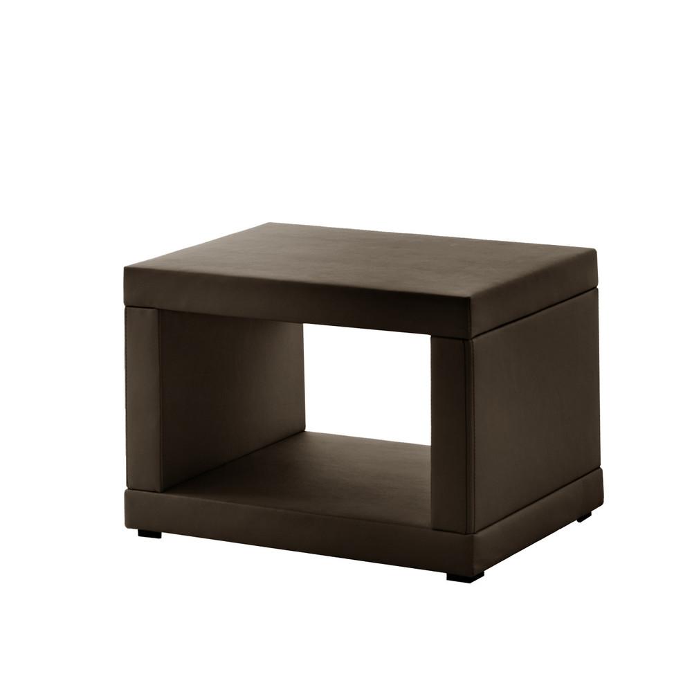 Koženkový nočný stolík Novative, hnedý