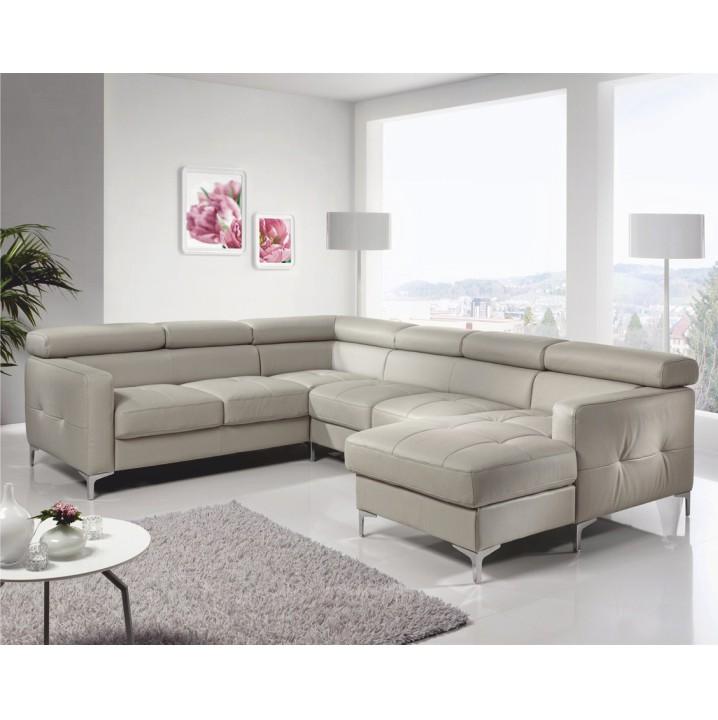 Rozkladacia rohová sedacia súprava v tvare U s úložným priestorom, L prevedenie, koža YAK M6903, SAMMY
