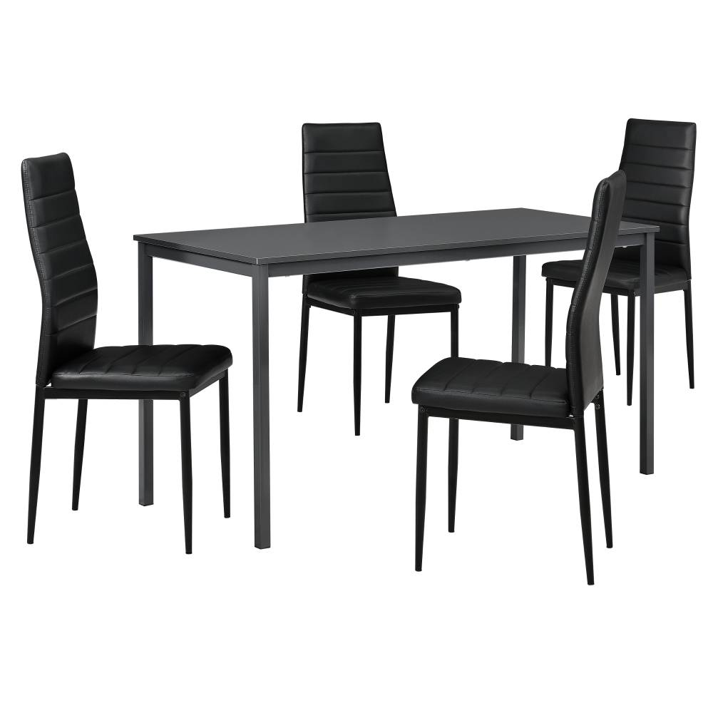 [en.casa]® Štýlový dizajnový jedálenský stôl (140 x 60 cm) - so 4 elegantnými stoličkami (čierne)