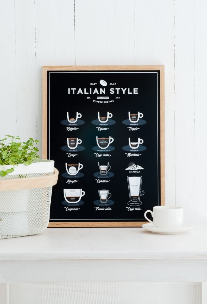 Čierny plagát Follygraph Italian Style Coffee, 21x30cm
