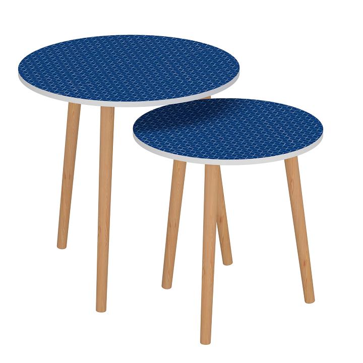 TEMPO KONDELA Set dvoch príručných stolíkov, modrá/biela, BRIX