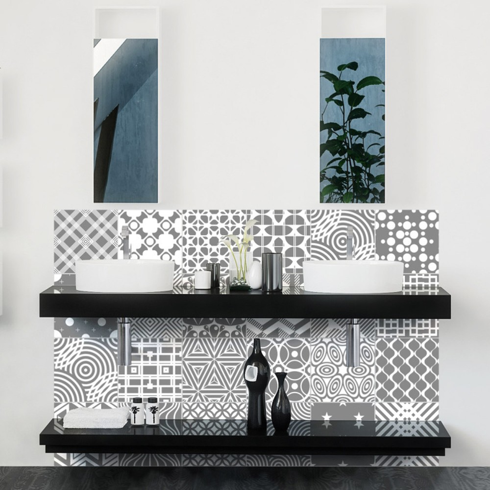 Sada 24 nástenných samolepiek Ambiance Modern Tiles, 10 × 10 cm