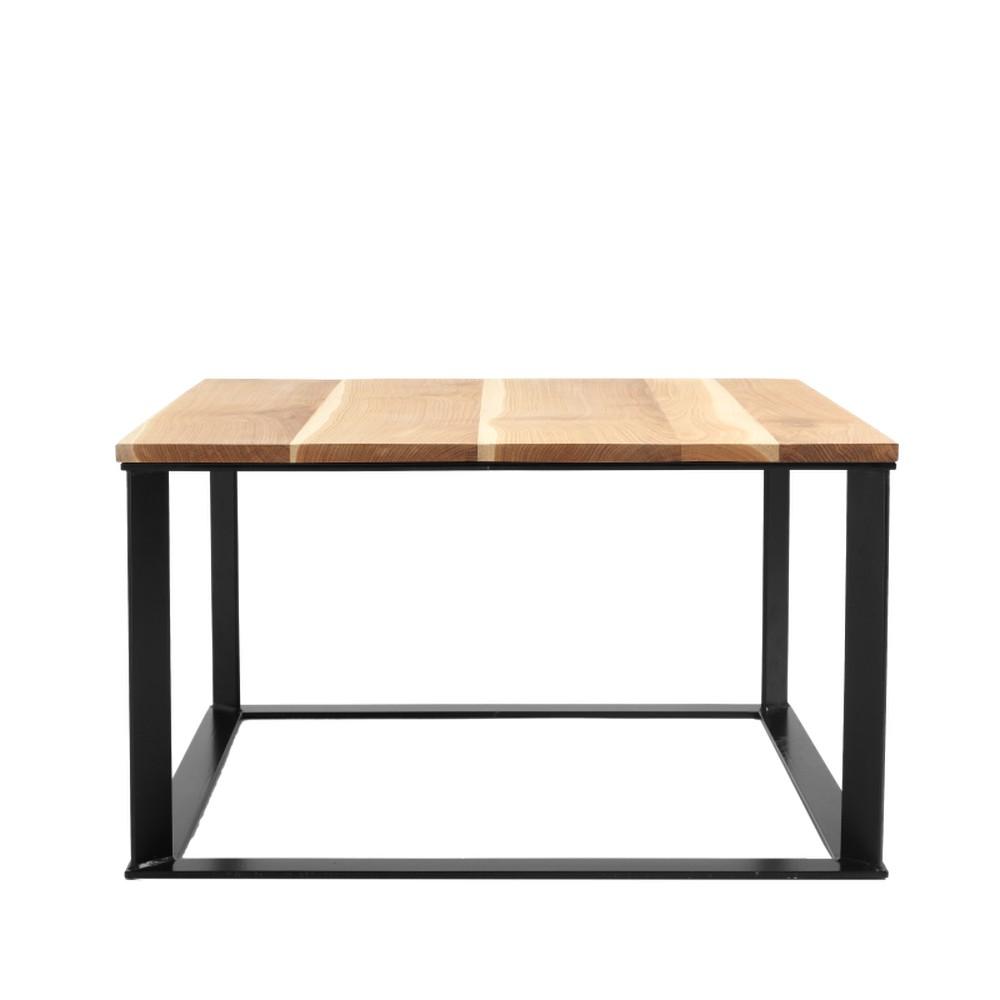 Konferenčný stolík s čiernou podnožou a doskou z masívneho dubu Custom Form Skaden, šírka 80 cm
