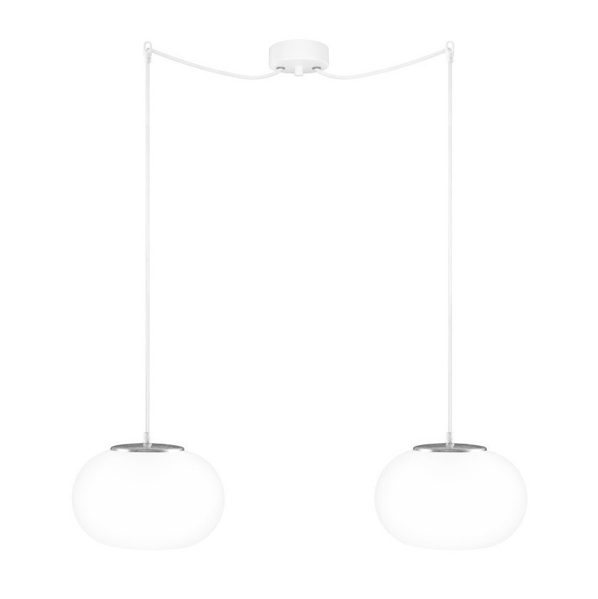 Bielo-strieborné dvojité závesné svetlo Sotto Luce Dosei