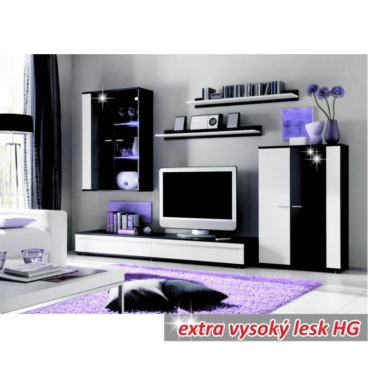 TEMPO KONDELA Obývacia stena, s LED osvetlením, biela/čierna extra vysoký lesk HG, CANES NEW