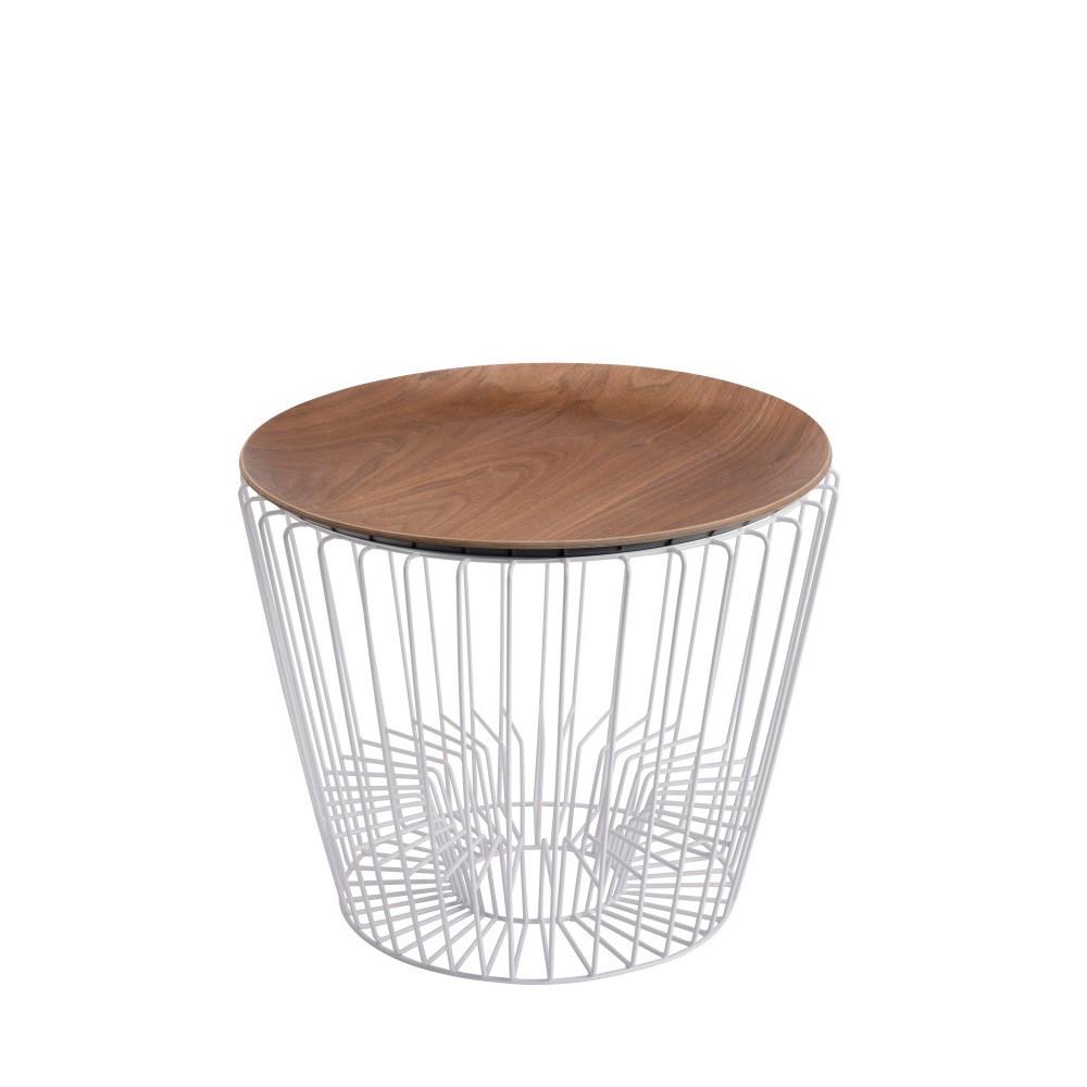 Odkladací stolík z kovu v dekore orechového dreva HARTÔ Ernest, Ø50 cm