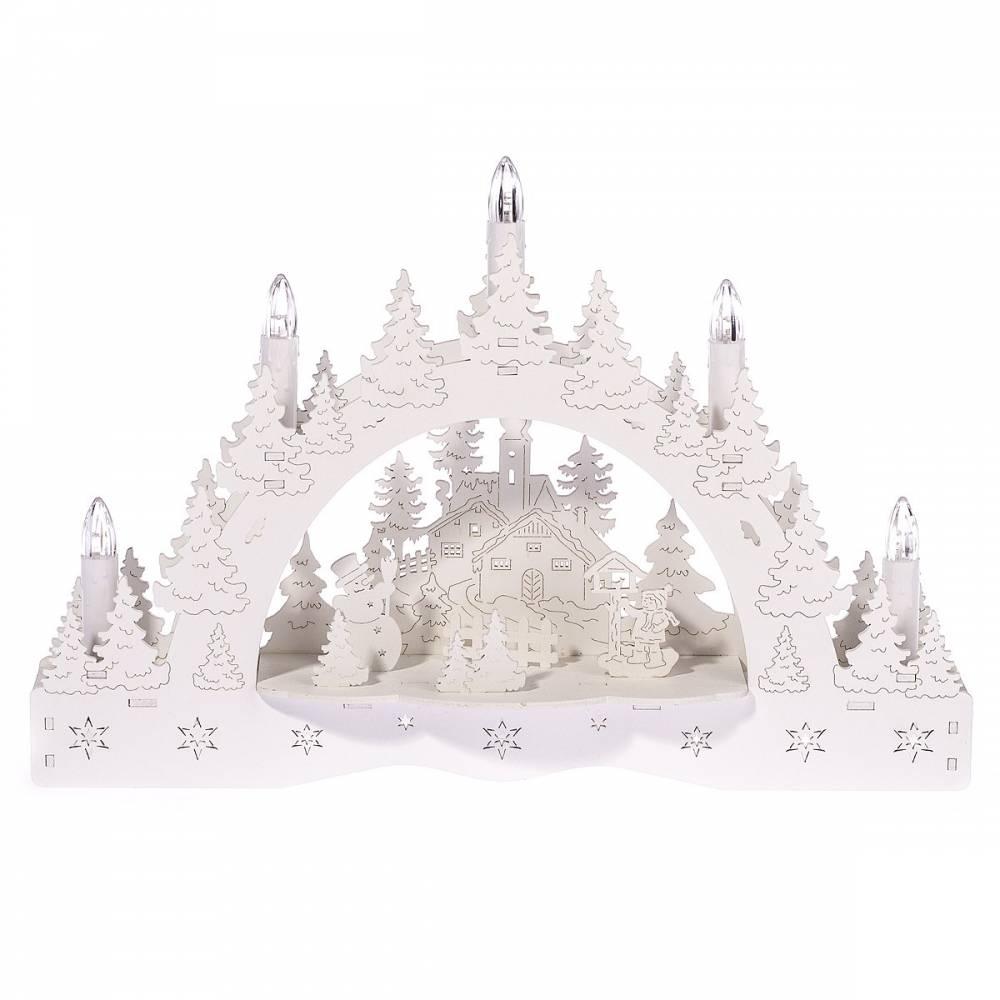 Vianočný LED svietnik Zimná krajina, kostol a kŕmidlo, 35 x 23 x 7,5 cm