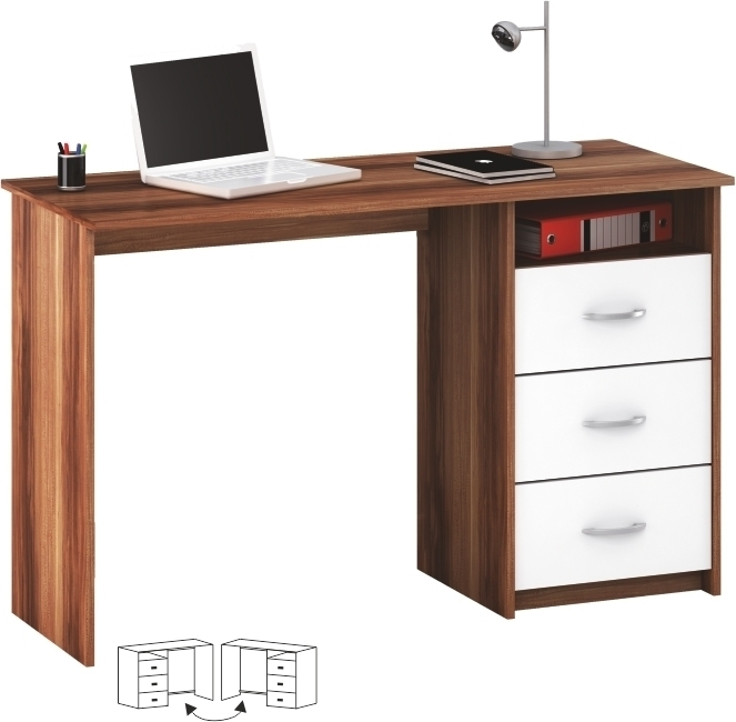 PC stôl, biela/slivka, LARISTOTE