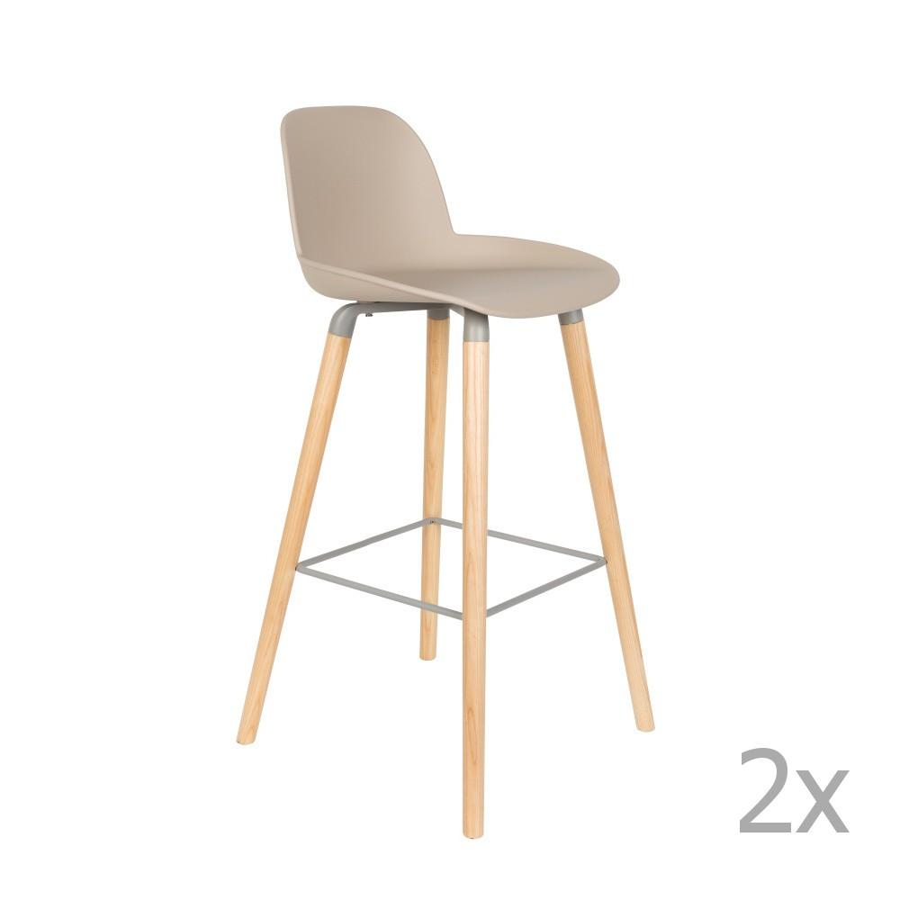 Sada 2 béžovosivých barových stoličiek Zuiver Albert Kuip, výška sedu 75 cm
