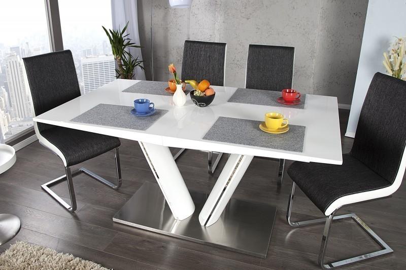 Jedálenský rozkladací stôl VALENCIA 160-220 cm - biela
