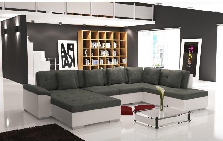 Elegantná sedacia súprava v tvare U, pravé prevedenie, ekokoža biela / šenil Berlin 01, ALMA