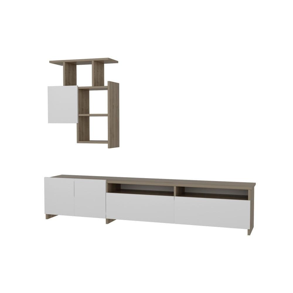 Set bieleho TV stolíka a nástennej police s detailmi v dekore orechového dreva Gardo Mariposa