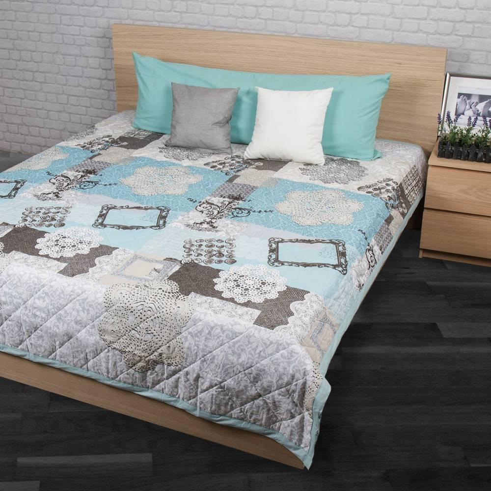 Night in Colours Prehoz na posteľ Lace tyrkysová 160x220, 160 x 220 cm