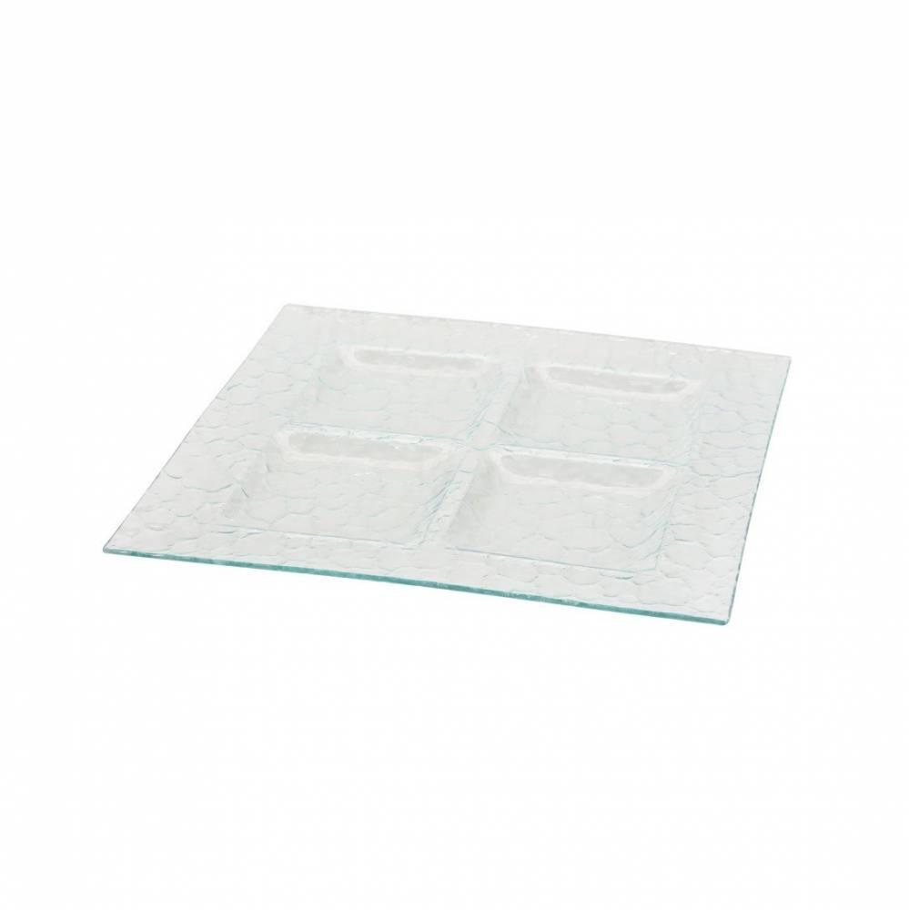 Servírovací sklenený tác 3 sekcie Excellent 36 x 36 cm