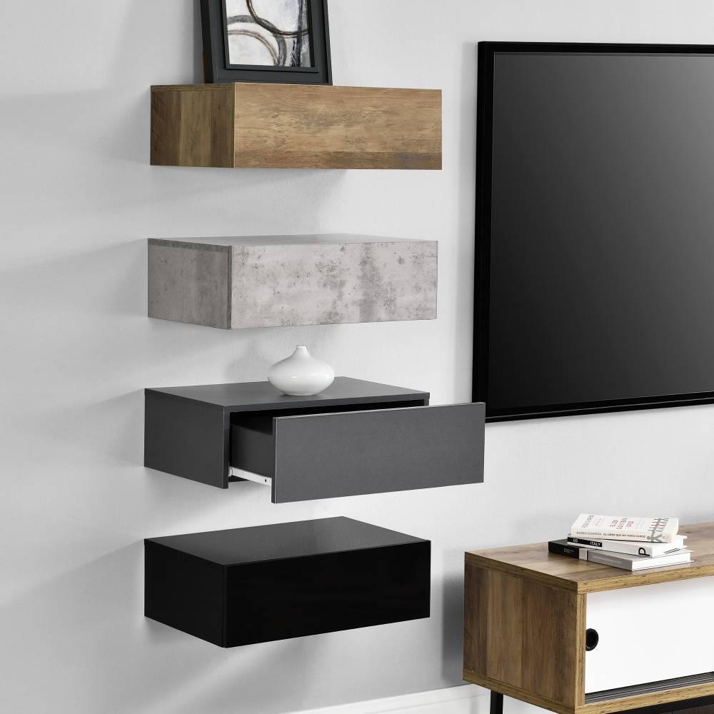 [en.casa]® Nočný stolík na stenu - štvorkombinácia - imitácia dreva/betónu/tmavá sivá/čierna