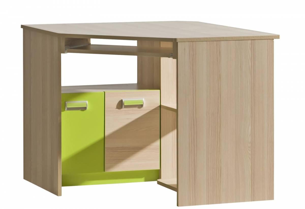 Rohový PC stolík L11 (zelená)