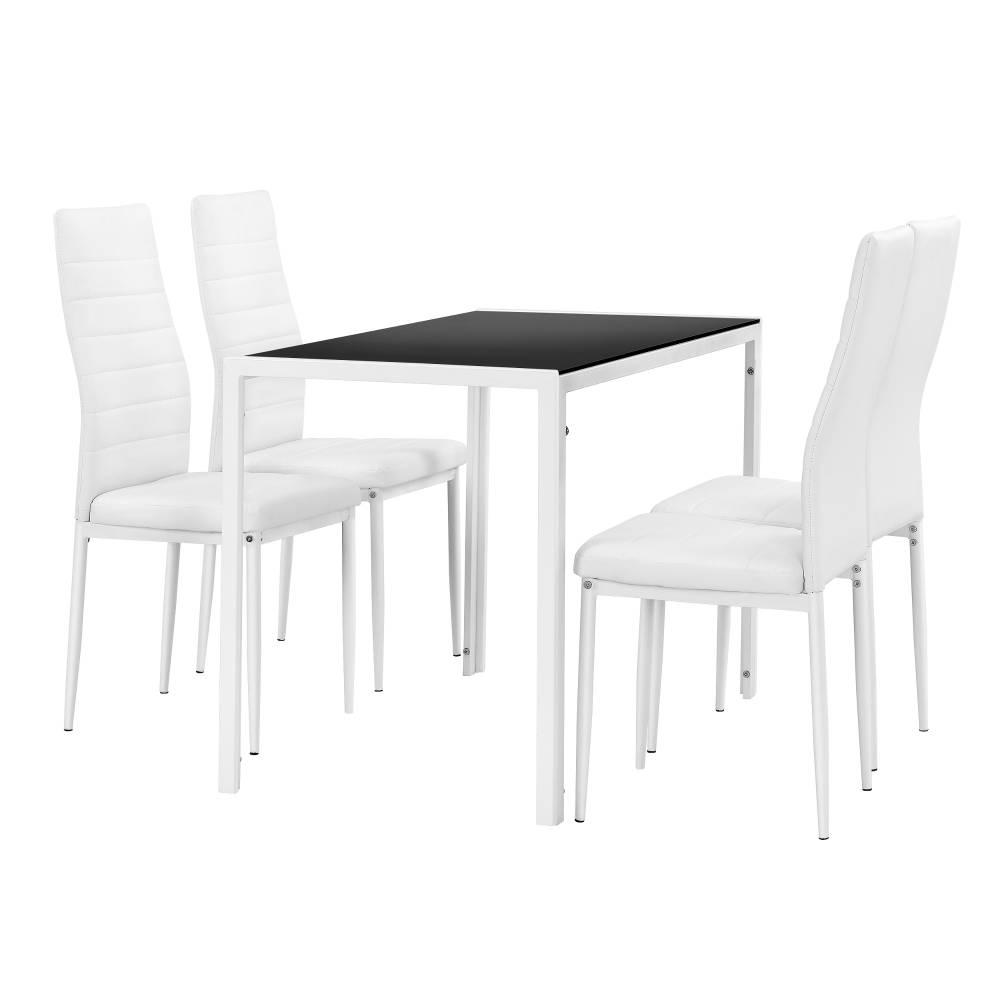 [en.casa]® Štýlový dizajnový jedálenský stôl - čierny sklenený stôl s bielymi stoličkami