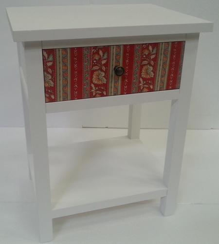 Telefónny stolík PATCHWORK 58 cm - biela/viacfarebná