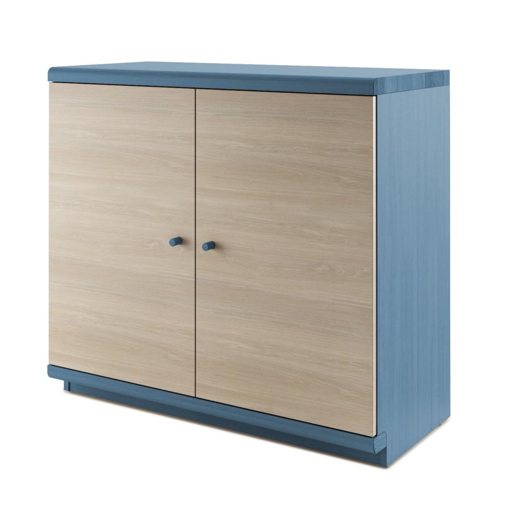 Modrá dvojdverová komoda z masívneho dubového dreva JELÍNEK Amanta
