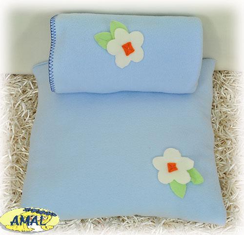 AMAL Flaušová deka + vankúšik KVIETOK, 3 farby